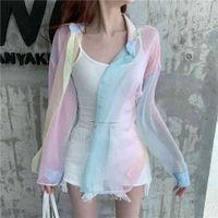 Rainbow women beach shirts loose vintage vadim ropa mujer kawaii kimono cardigan sweaters kobiety bluzki 680j