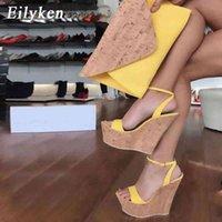 Eilyken Open Toe Ankle Strap Platform Wedges Women Sandals Super High Cover Heel Gladiator Ladies Shoes Buckle Summer Sandals 210324