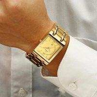 Armbanduhren relogio masculino wwoor gold uhr männer square herren uhren top goldene quarz edelstahl wasserdichte handgelenk