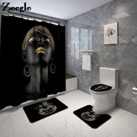 African Women Printed Bath Mat and Shower Curtain Set Non-Slip U-Shaped Toilet Rug Memory Foam Carpet for Bathroom