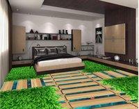 Modern Floor Painting 3D Green Bridge Water Goldfish PVC Wall Paper Self-adhesive Mural Wallpapers