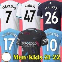 Camisa de futebol 21 22 manchester Camisa de futebol MAN CITY 2021 2022 DE BRUYNE STERLING FODEN MAHREZ BERNARDO FERRAN homens e crianças