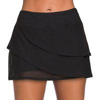 Women's Swimwear Women Sexy Beach Shorts Conservative Half Skirt Swimsuit Beachwear High Waist Leggings Black