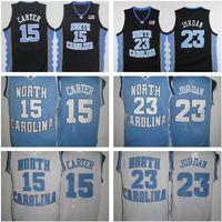 15 Vince Carter Unc Jersey North Carolina Blu Bianco Cucito NCAA College Basket Ballscall Pannelli da ricamo Pantaloncini da ricamo