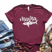Mama Köpekbalığı Kadın T Gömlek Tshirt Pamuk Rahat Komik Hediye Lady Yong Kız için Üst Tee 6 Renkli Bırak Gemi