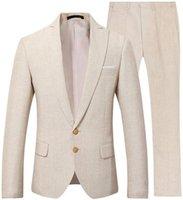 Beige Men Suit Casual Linen Beach Wedding Groom Stylish Prom Dress Party Wear 2 Pieces (Jacket+Pants) Men's Suits & Blazers