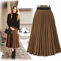 Mulheres de verão mulheres chiffon plissado saia na moda senhoras cintura elástica cor sólida uma linha vestido para data / trabalho / festa