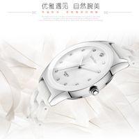 Diseñador Luxury Brand Watches White Cerámica Resistente al agua Classic Lea Fácil Lectura Deportes Muñeca, Rhinestone de la mejor calidad