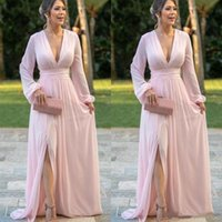 Dusty Pink Chiffon Mother of the Bride Dresses Long Puff Sleeve V Neck Floor Length Elegant 2021 Formal Wedding Evening Party Gowns
