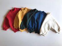 FM ins الكورية الاطفال الصغار الصغار الفتيات سوياتشيرتس طويلة نفخة الأكمام الخريف الصوف القطن للجنسين الطفل البونتية الملابس
