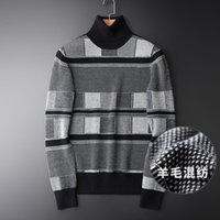 Men's Jackets Wool Blended Knitted Turtleneck Sweater Plush Thickened Slim Fit Youth Trend Winter Pullover Bottom Line Garment