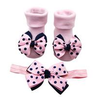 Baby Socks Infant +1PC Hair Belt Toddler Girls Bow Wave Point Anti-slip Shoes