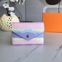 2021 선물 상자와 신선한 디자이너 지갑 여성의 여름 에스케일 빅토린 지갑 시보리 넥타이 염료 봉투 스타일 작은 지갑 패션 지갑