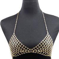 İki parçalı takım elbise seksi sütyen zincirleri kristal bel zincir rhinestone vücut bikini kadınlar ve kızlar için üst altın takı