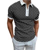 الرجال بولو الرجال قميص البولكا نقطة طباعة 2021 الصيف أزياء قصيرة الأكمام بلوزة زائد الحجم سستة قمم المتناثرة تي الشارع الشهير