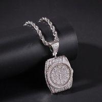 Colares de pingente de moda hip hop gelado fora bling dial relógio pavimentar zircon charme jóias para homens e mulheres