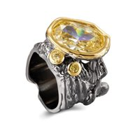 Cluster Rings Big For Women Very Dazzling Golden Zirconia Irregular Cut Band Gothic Chic Dating Fashion Jewelry