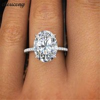 choucong 2018 Promise Finger Ring 925 sterling Silver oval cut 3ct Diamond Engagement Band Rings For Women Wedding Jewelry