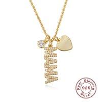 925 Colliers Sterling pour femmes Lettre Heart Lettre Mama Maman Mère Jours de Mère Cadeau Strass Pendentifs Fine Silver Bijoux