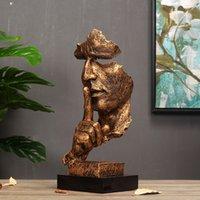 Arti e artigianato Retro European Silence è oro figura scultura ufficio creativo ufficio soggiorno decorazione artistica ornamento in resina