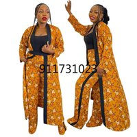 Ethnic Clothing Two Piece Maxi Dress And Pants Sets Plus Size African Clothes For Women Tracksuit Boubou Robe Suit