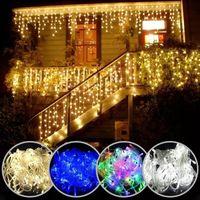 Рождественские огни Водопад на открытом воздухе 5M Drop 0,4-0,6 м Светодиодные фонари занавесные светильники огни партии сад карнизы украшения 4,9