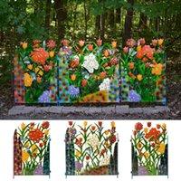 Esgrima, trellis puertas recubierto acero decorativo jardín panel de cerca colorido metal 3-panel mariposa y pantalla floral trasero al aire libre