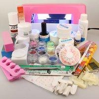 Easy Nail Art Base Set Pro Full Acrylic Powder UV Gel Borstel Pen 9W Lamp Glitter Borstels Bestanden DIY Manicure Kit