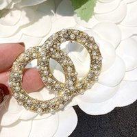 럭셔리 디자이너 브로치 크고 작은 진주 다이아몬드 스탬프 고품질 파티 선물 L-C14 @ Yamalang2와 함께 다이아몬드 브로치