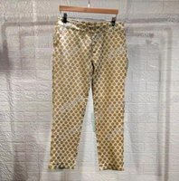 20sses France Dernier printemps Été Mode Italie Pant Golden Brown Jacquard Hommes Femmes Casual Coton Coton Baseball Triangle Pantalon Bleu