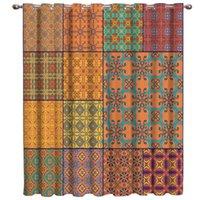 Rideaux rideaux rideaux de motif carré ethnique rétro
