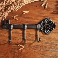 Hangers & Racks 3 Hooks Cast Iron Key Hook Clothes Rack Holder Wall Mounted Hat Hanger For Home Decoration