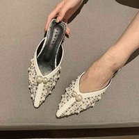 Slippers Women's Loafers Summer Pointed Toe Mules Backless Ballet Flats Lady Casual Walking Shoes Low Heel Slip-on Sanda UG4L