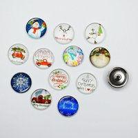 50PCS Mixed Glass Christmas Tree Car Snowman For DIY 18MM Button Snap Bracelet Necklace Jewelry