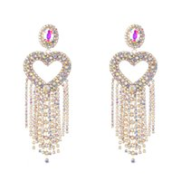 Super flashing claw chain series love heart-shaped alloy diamond long tassel earrings women European and American exaggerated dinner catwalk