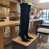 Cuchillo negro tiburón sobre la rodilla tacones de estilete botas estiramiento brillante spandex crepe jersey punto dedos de los pies de los dedos del muslo-high boot para las mujeres zapatos de diseño de lujo calzado de fábrica