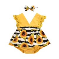 Pudcoco Newborn Baby Girl Clothes Summer Sleeveless Lace Ruffle Sunflower Print Romper Headband 2Pcs Outfits Sunsuit Clothes Set 2349 V2
