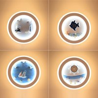 Marine Decorative Wall Lamps Bedroom Background Lamp Channel Round Bedside Light Fixtures Cute Children's Room Wall Lights Mediterranean Cartoon LED Lighting