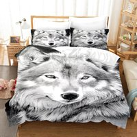 Conjuntos de ropa de cama Luxury Grey Wolf Set Adults Boys Wolves Animal Duvet Funda Cama King Queen Tamaño fresco ropa de cama Decoración Inicio
