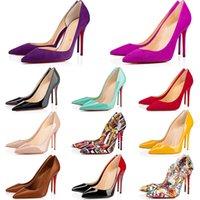Sapatos de grife sneaker Tão Kate Estilos de Salto Alto Sapatos Red Bottoms Saltos de Luxo 12 CM 14 CM Couro Genuíno Ponto Toe Bombas De Borracha tamanho 35-44