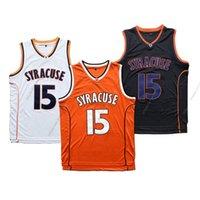 كارميلو أنتوني # 15 Syracuse كرة السلة جيرسي كلية الرجال جميع مخيط أبيض برتقالي أسود حجم S-3XL أعلى جودة الفانيلة