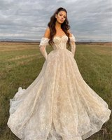 Sexy Full Lace A Line Wedding Dress 2021 Off The Shoulder Boho Bride Dresses Sweetheart Bridal Party Gowns Vestidos de novia