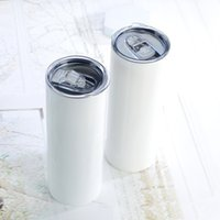 Sublimation Straight Skinny Tumbler 20oz Stainless steel blank white skinnys cup with Cylinder water bottle coffee