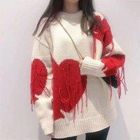 Хип-хоп Женщины свитер негабаритный вышивка кисточка Crewneck толстовки 2022 осень зима теплые вязаные свитера платье