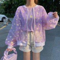 Women's Jackets 2021 Korean Style Loose Flower Printed Thin Jacket Sunscreen Women Long Sleeve Casual Bomber