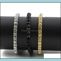 """Tennis Bracelets Jewelryiced Out 1 Row Rhinestones Mens Hip Hop Style Clear Simated Diamond 8"""" Bracelet Bling Kka2316 Drop Delivery 2021 Te5"""