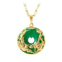 2021 MGFAM (173P) Collar colgante de Dragón y Phoenix para mujeres Verde Malasia Jade China Mascota antigua 24k chapada con cadena de 45 cm