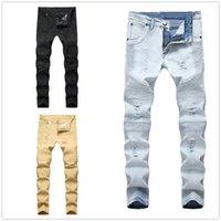 Jeans maschile uomo motociclista rappresentante pantaloni di abbigliamento slittamento distrutto da uomo sottile denim dritto skinny uomini strappato Jeans moda personalità blu / nero / kaki