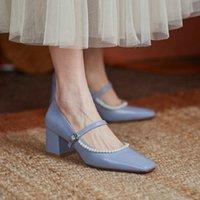 Sianie Tianie Natural Cuero genuino de la vaca de la vaca azul de la novia de la boda rojo zapatos de la oficina de las señoras elegantes bombas de oficina con perlas Mary Janes tacones vestido