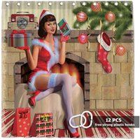 Shower Curtains Christmas Pin Up Girl By Ho Me Lili Curtain Merry Xmas Fireplace Gifts Trees Retro Bathroom Decor With Hooks Easy Care